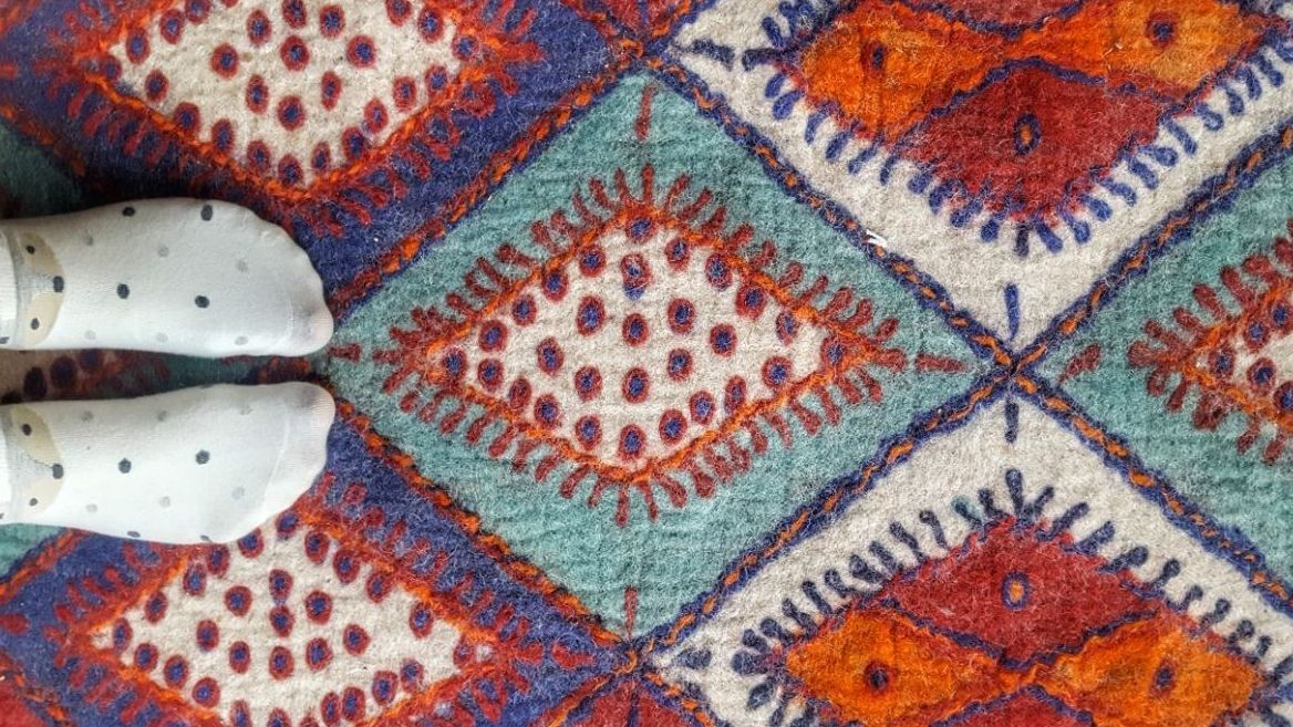 Felt rug making in Iran