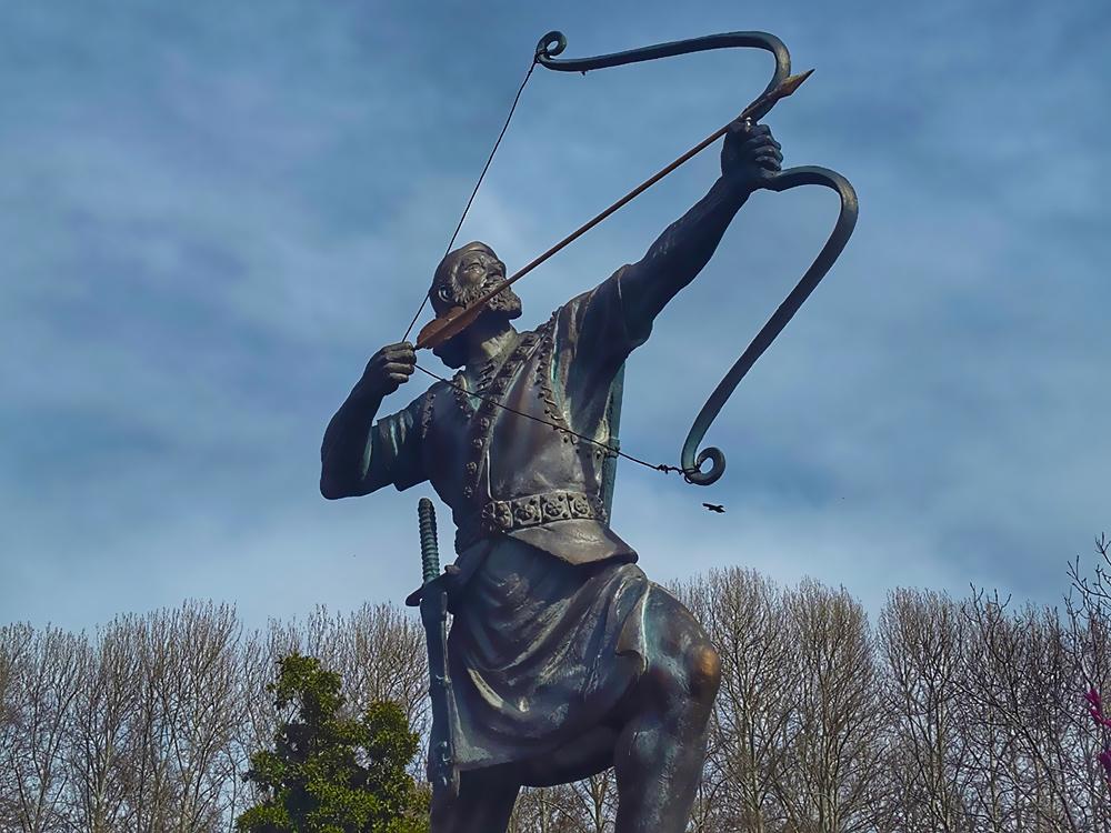 The statue of Arash the archer in Sa'adabad complex, Tehran