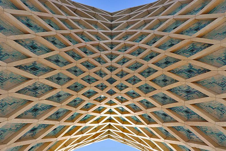 Azadi tower structure with ribs under the vaults