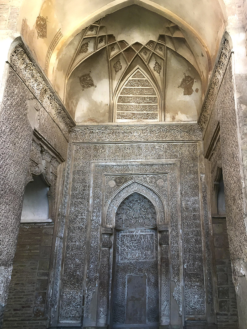 Plaster art of masterpiece Mihrab in Bastam complex