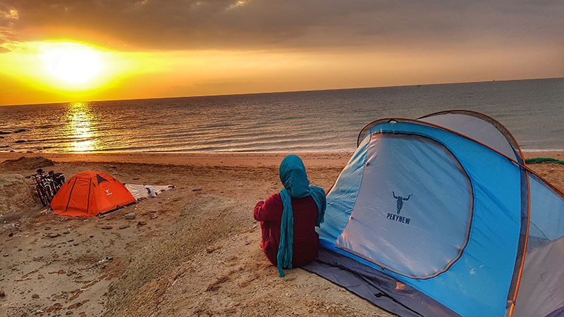 Camping in Hormuz island, Iran