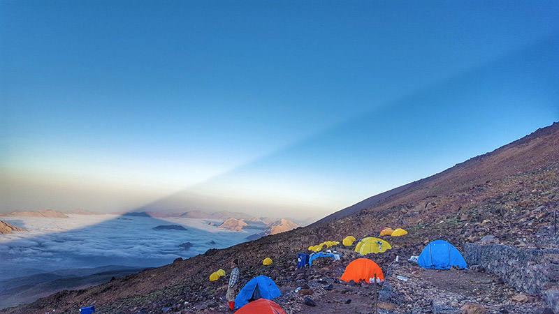 Damavand advance camp over clouds