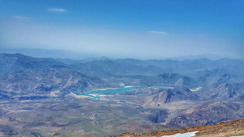Lar dam view from the peak of Damavand