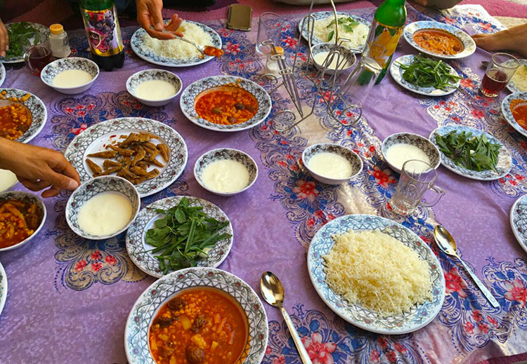 Persian lunch table, varzaneh cooking tour