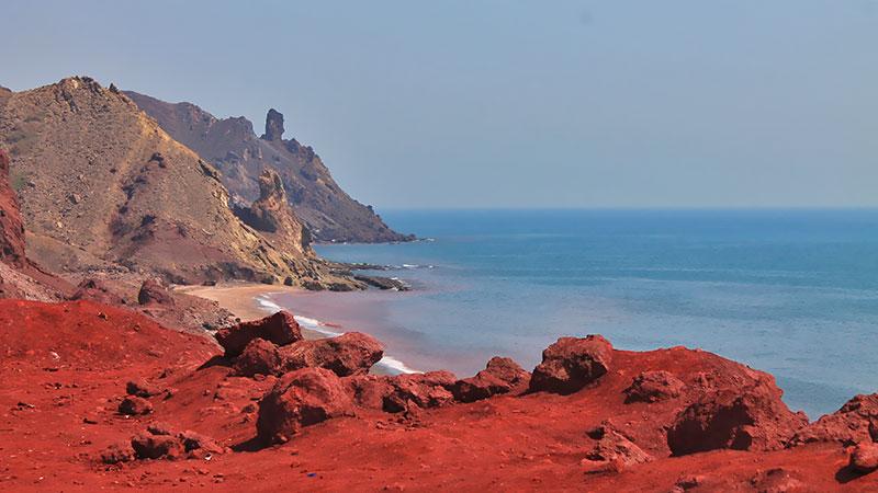 red beach in Hormuz island, Persian gulf