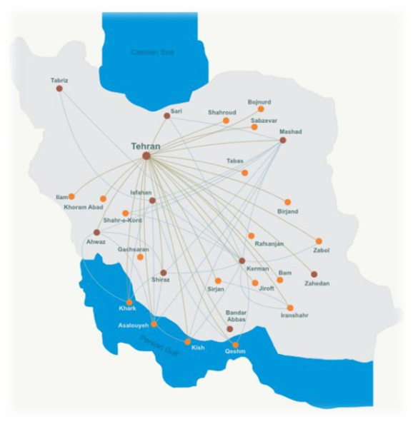 Domestic flights route in Iran