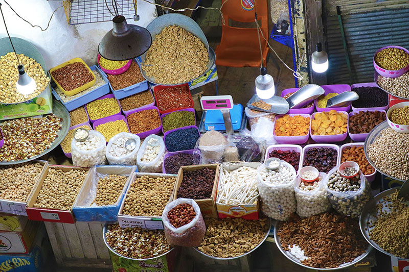Nuts and sweets in bazaar, Iran