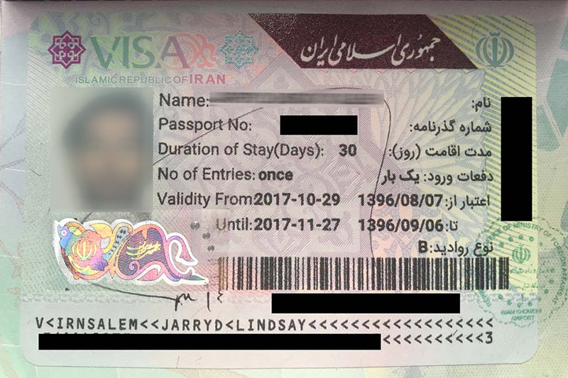 Iran Visa on Arrival (VOA) sample