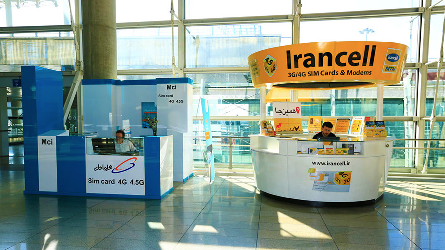 Irancell and MCI (Hamrahe Aval) booths at IKA (Imam Khomeini International Airport)