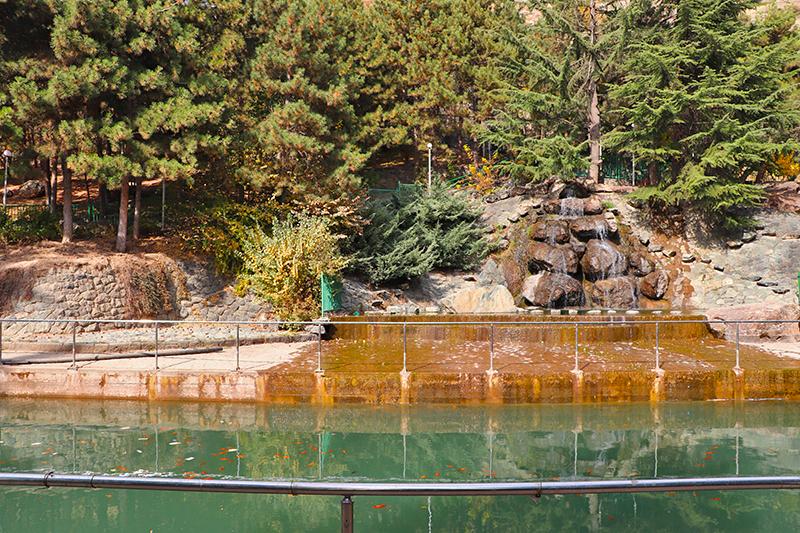 stone waterfall and fish pond of jamshidiyeh stone park
