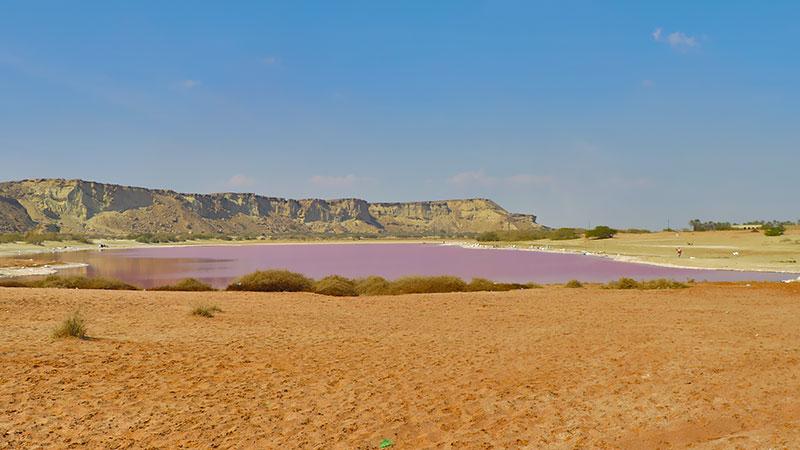 Lipar pink lake in Iran Balochistan