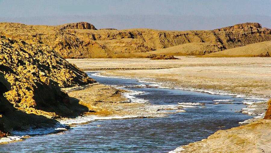Arid Dasht- e Lut with seaonal lake