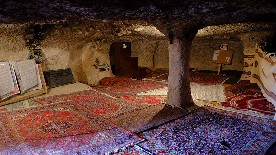 Meymand mosque inside stone cave