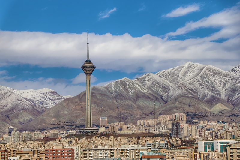 Tehran, capital city of Iran at the foot of Alborz mountains