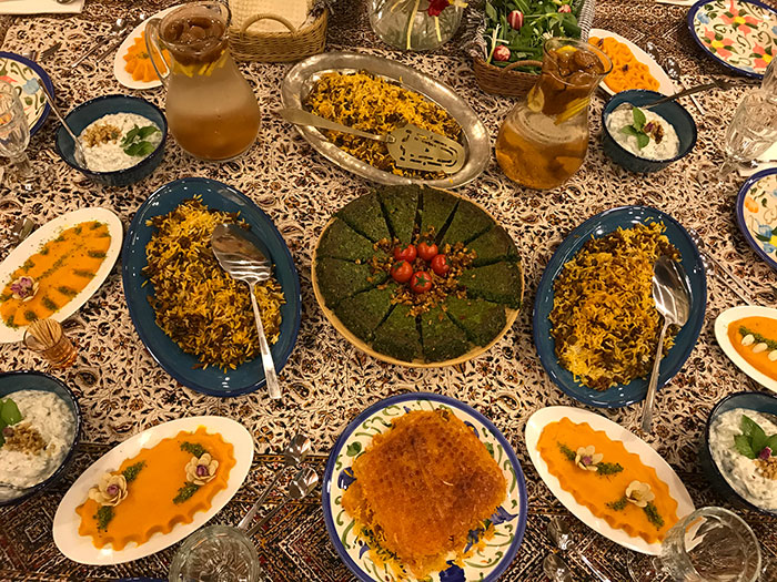Persian table with colorful local cuisines