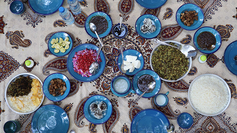 Persian Food, a Rainbow upon the Table