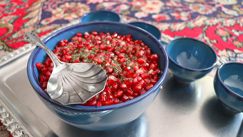 A bowl of pomegranate seeds