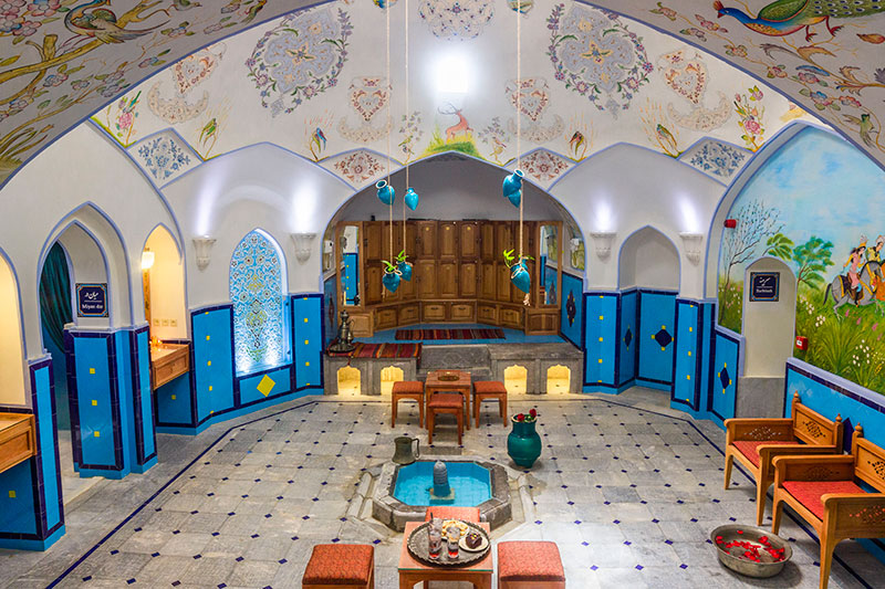 The elegance design inside the Iranian public bathhouse