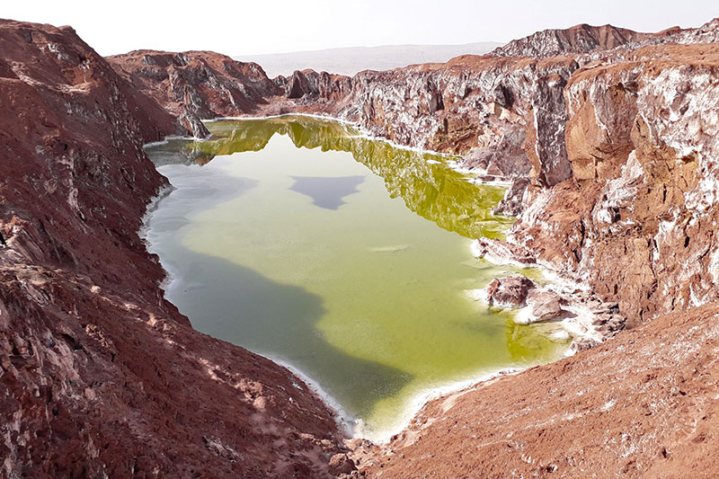 the salt dome of Qom and its emerald salt lake