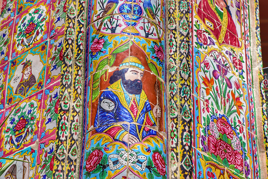 Splendid tile art in old neighbors of Shiraz