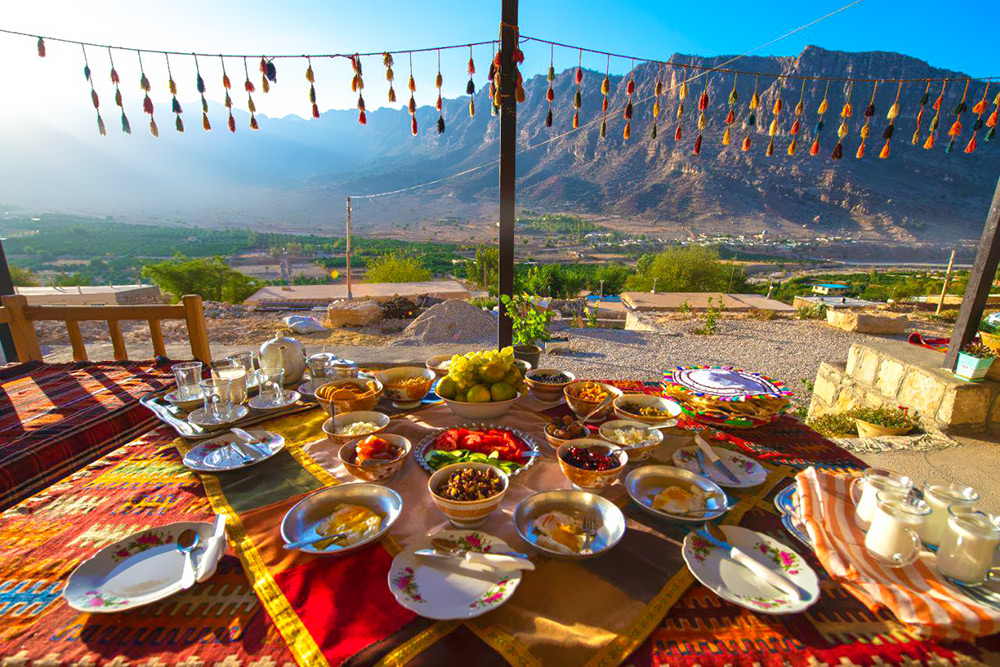 Colorful table of Tang-e chogan local lodge
