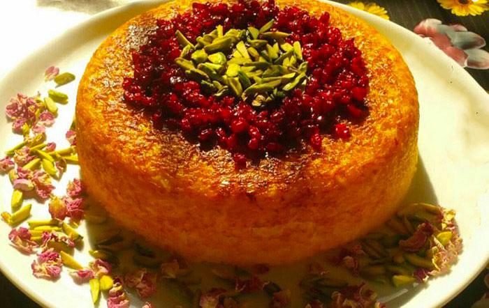 persian rice cake or tahchin