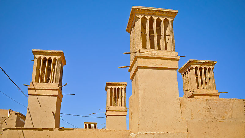 The skyline of badgirs or windcatchers of Yazd